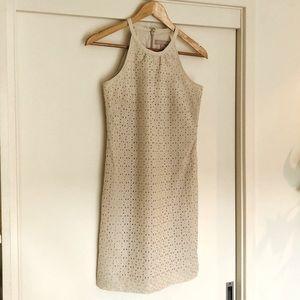 BANANA REPUBLIC Beige Broderie lace dress,highneck